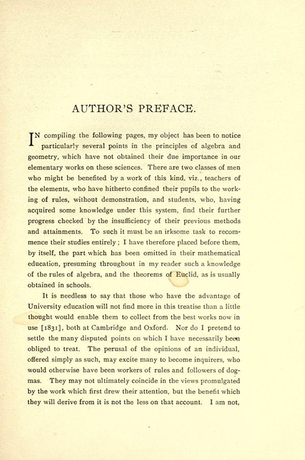 Page 1 of the Author's Preface in On the Study and Difficulties of Mathematics by Augustus De Morgan
