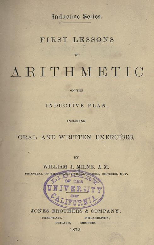 Title Page for First Lessons in Arithmetic by William J. Milne