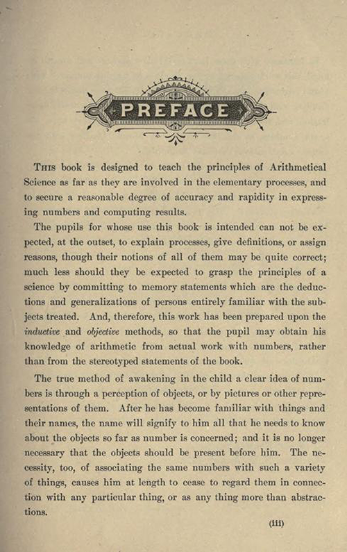 First page of the Preface to First Lessons in Arithmetic by William J. Milne