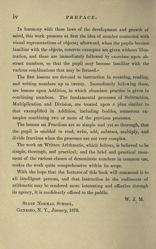 Second page of the Preface to First Lessons in Arithmetic by William J. Milne