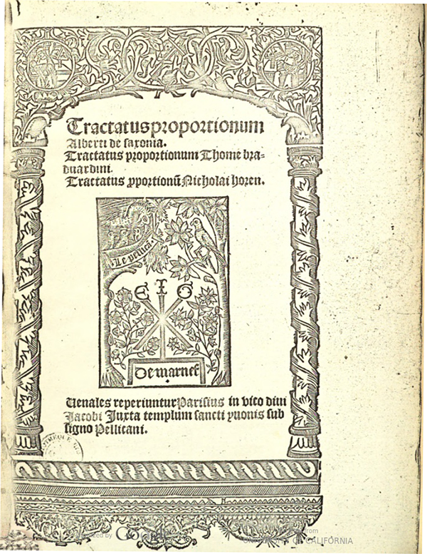 Title page of Tractatus proportionum by Albert of Saxony