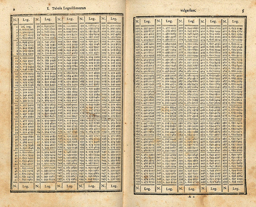 Table from a book by Georg Vega.