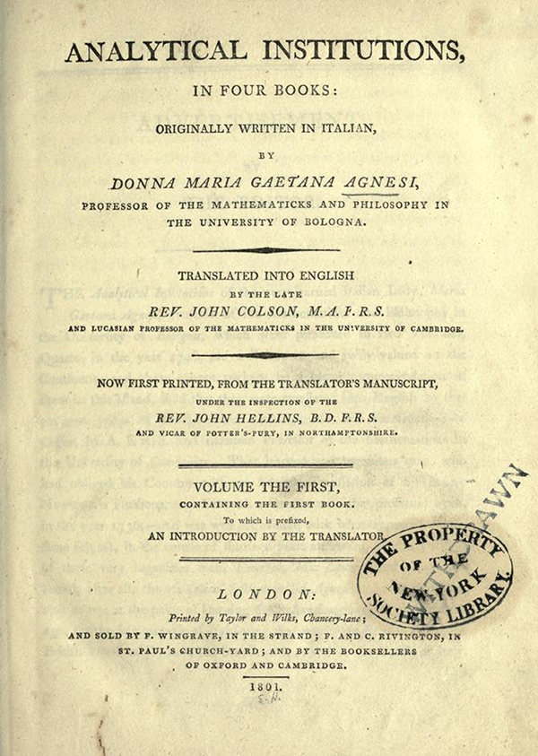 Title page for English Translation of Maria Agnesi's Analytical Institutions published in 1801