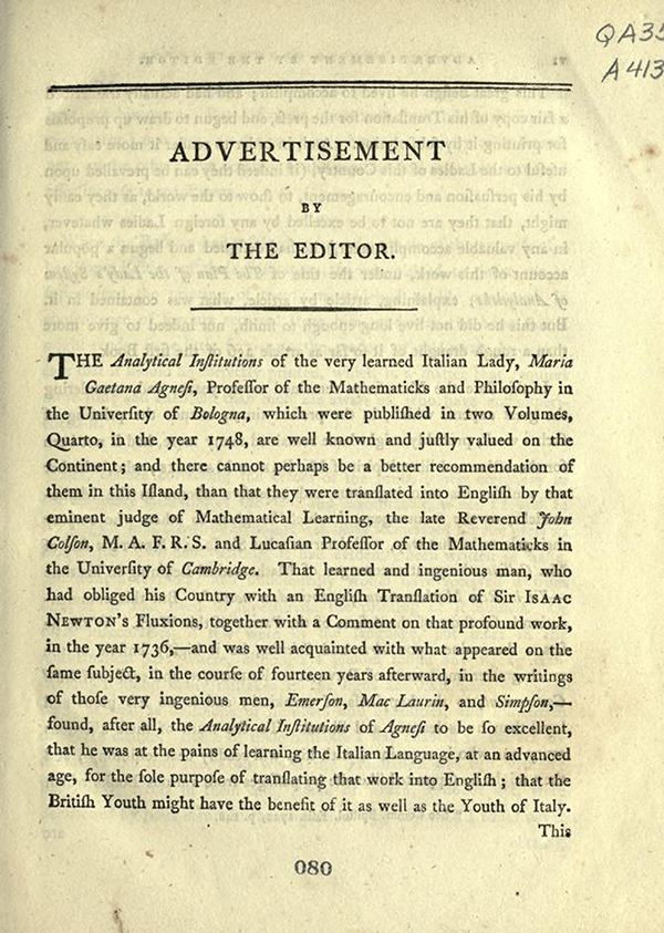"Editor's ""Advertisement"" for English Translation of Maria Agnesi's Analytical Institutions published in 1801"