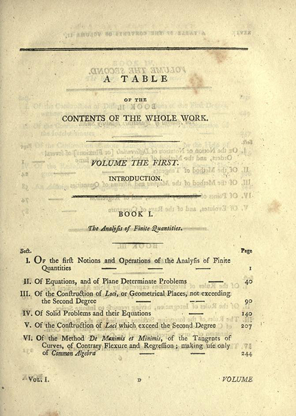 First page of Table of Contents for English Translation of Maria Agnesi's Analytical Institutions published in 1801