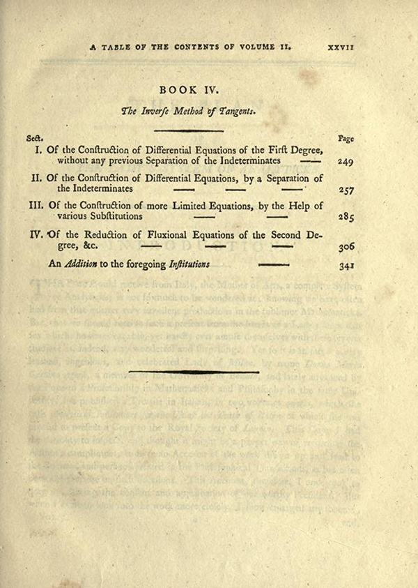 Third page of Table of Contents for English Translation of Maria Agnesi's Analytical Institutions published in 1801