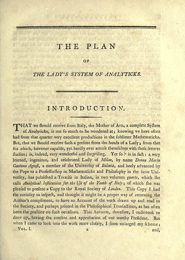 "First page of ""The Plan of the Lady's System of Analyticks"" from English Translation of Maria Agnesi's Analytical Institutions published in 1801"