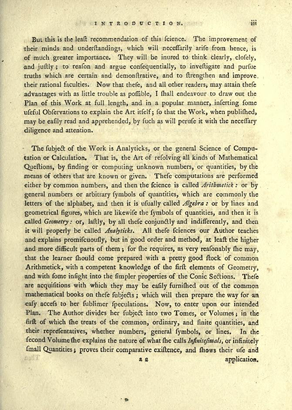 "Third page of ""The Plan of the Lady's System of Analyticks"" from English Translation of Maria Agnesi's Analytical Institutions published in 1801"