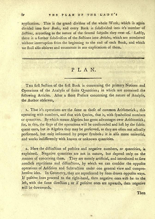 "Fourth page of ""The Plan of the Lady's System of Analyticks"" from English Translation of Maria Agnesi's Analytical Institutions published in 1801"
