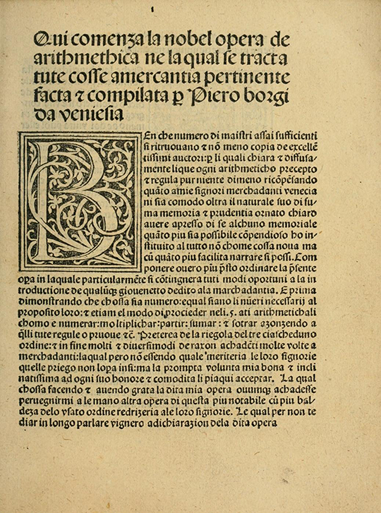 Introduction from Borghi's Arithmetic (1484).