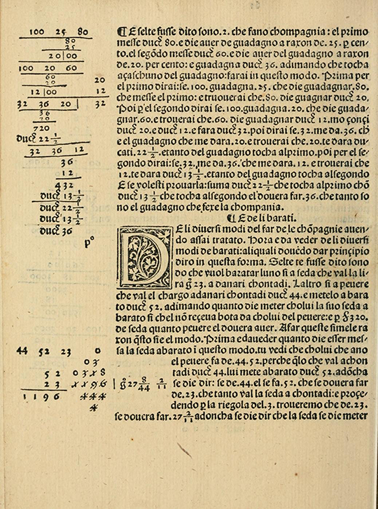 Mathematics of bartering from Borghi's Arithmetic (1484).
