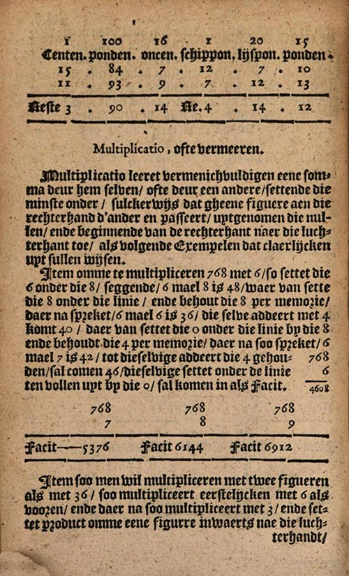 Multiplication examples from 1635 edition of Practicque om te leeren reeckenen by Nicolaus Petri