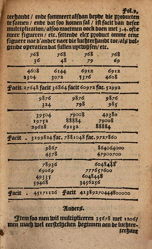 More multiplication examples from 1635 edition of Practicque om te leeren reeckenen by Nicolaus Petri