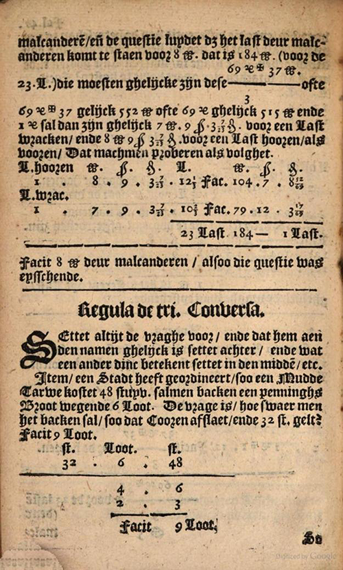 Converse Rule of Three example from 1635 edition of Practicque om te leeren reeckenen by Nicolaus Petri