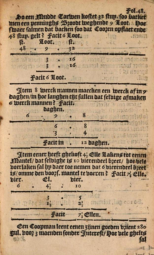 More Converse Rule of Three examples from 1635 edition of Practicque om te leeren reeckenen by Nicolaus Petri