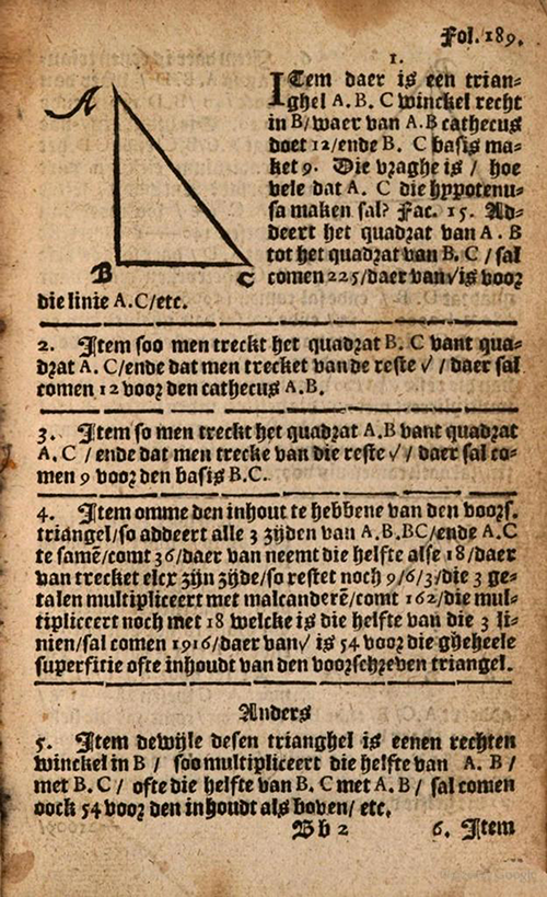 Folio 189 from 1635 edition of Practicque om te leeren reeckenen by Nicolaus Petri