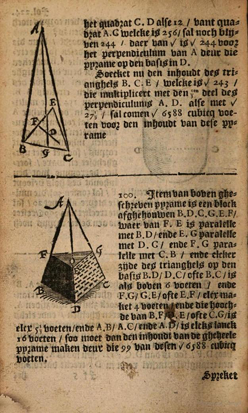 Pyramid diagrams from 1635 edition of Practicque om te leeren reeckenen by Nicolaus Petri