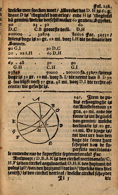 Spherical geometry from 1635 edition of Practicque om te leeren reeckenen by Nicolaus Petri