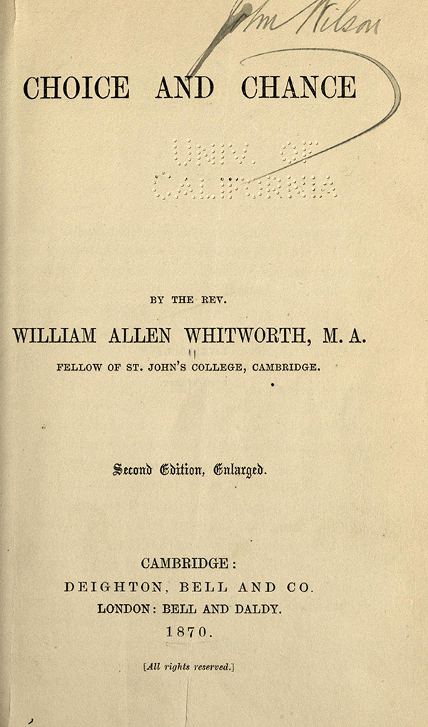 Title page for Choice and Chance, 2nd Edition, 1870 by William Whitmore