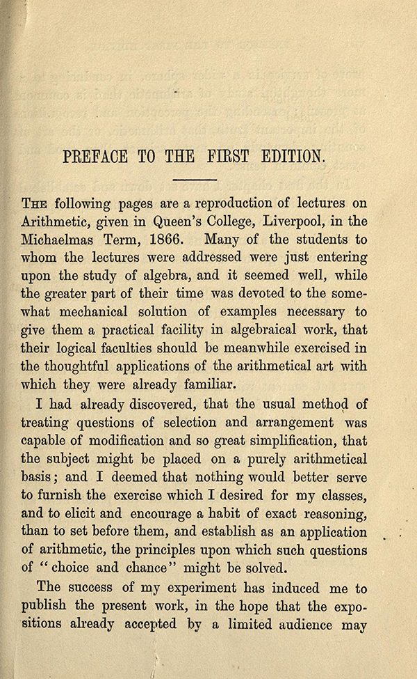 First page of Preface for Choice and Chance, 2nd Edition, 1870 by William Whitmore