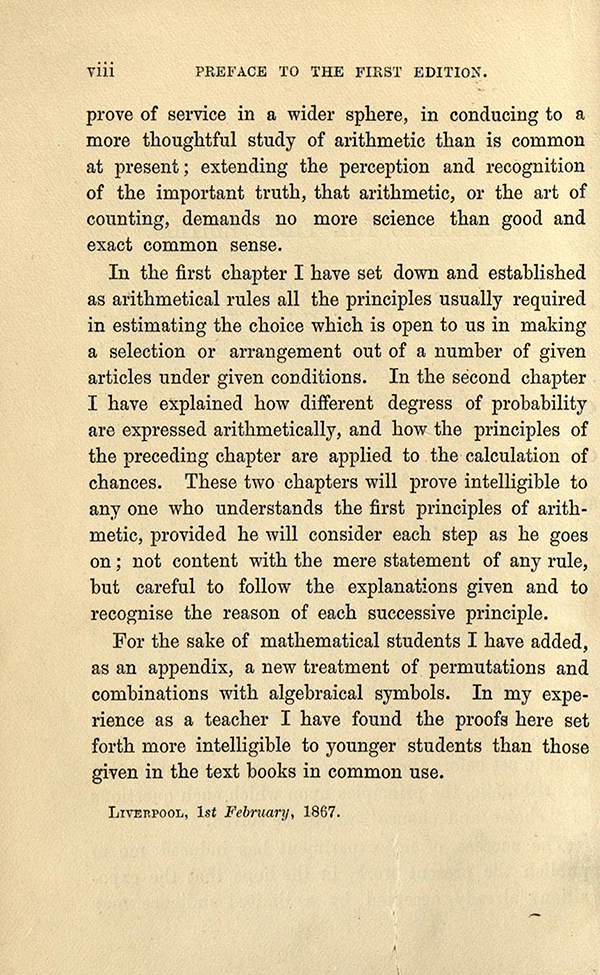 Second page of Preface for Choice and Chance, 2nd Edition, 1870 by William Whitmore