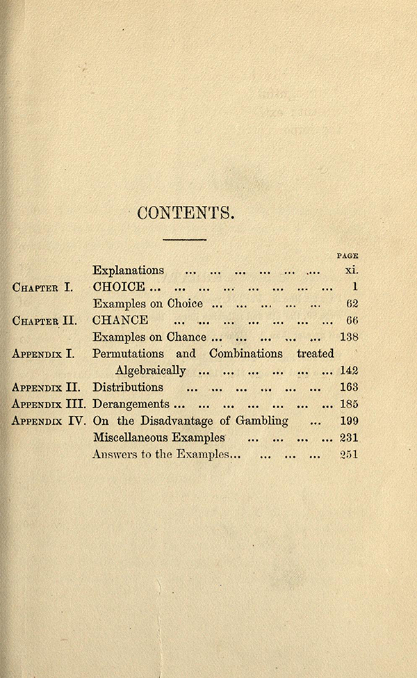 Table of Contents for Choice and Chance, 2nd Edition, 1870 by William Whitmore