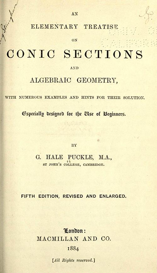 Mathematical Treasure: Conic Sections & Algebraic Geometry