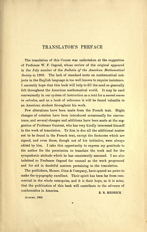Translator's preface of Volume one of A Course in Mathematical Analysis (English translation of Goursat's Course d'analyse mathematique from 1904)
