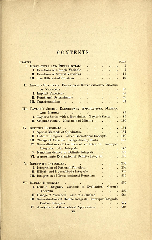 First page of table of contents for Volume one of A Course in Mathematical Analysis (English translation of Goursat's Course d'analyse mathematique from 1904)