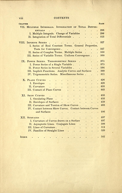 Second page of table of contents for Volume one of A Course in Mathematical Analysis (English translation of Goursat's Course d'analyse mathematique from 1904)