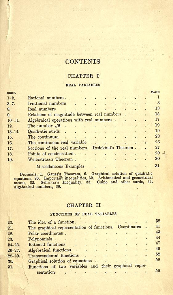 First page of the table of contents of A Course in Pure Mathematics by G. H. Hardy, third edition, 1921