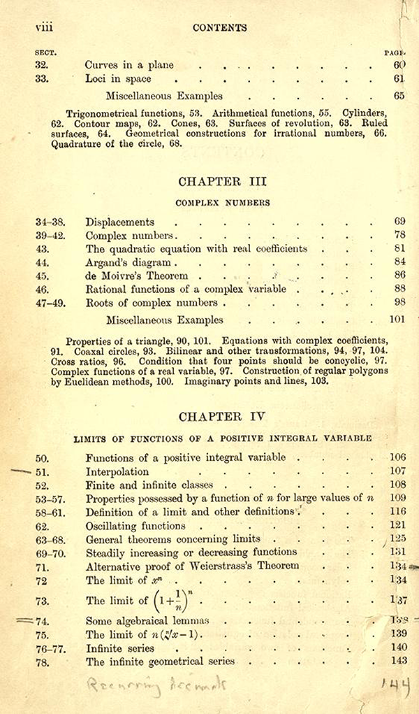 Second page of the table of contents of A Course in Pure Mathematics by G. H. Hardy, third edition, 1921
