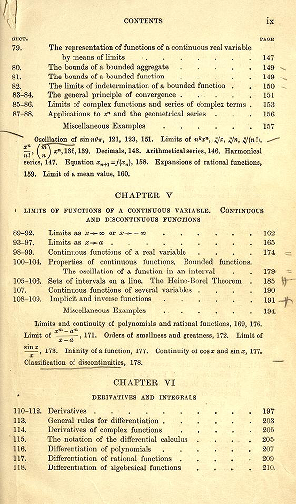 Third page of the table of contents of A Course in Pure Mathematics by G. H. Hardy, third edition, 1921