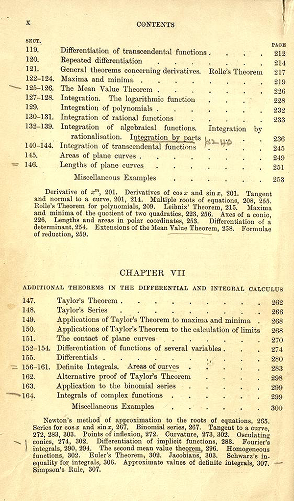 Fourth page of the table of contents of A Course in Pure Mathematics by G. H. Hardy, third edition, 1921