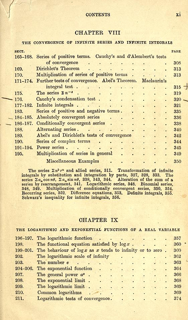 Fifth page of the table of contents of A Course in Pure Mathematics by G. H. Hardy, third edition, 1921