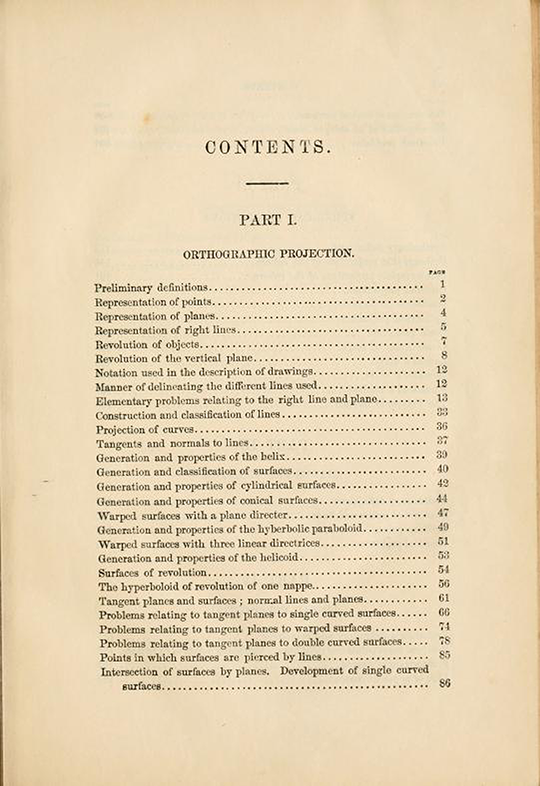 First page of table of contents from Elements of Descriptive Geometry by Albert Church, 1867