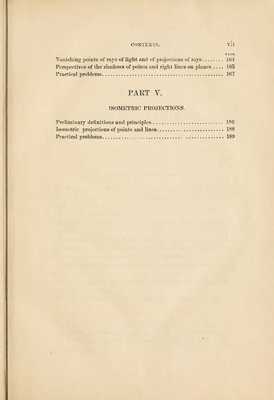 Third page of table of contents from Elements of Descriptive Geometry by Albert Church, 1867
