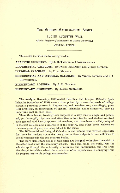 Information page for The Modern Mathematical Series, published by the American Book Company