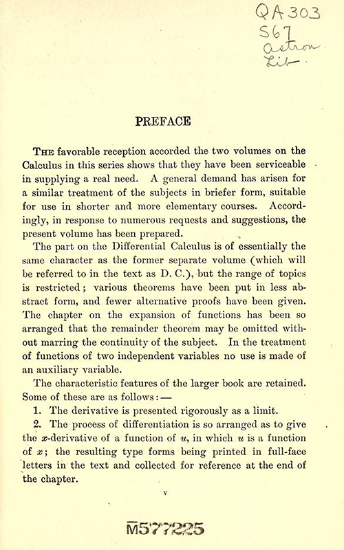 First page of Preface to Differential and Integral Calculus, 1902, by Snyder and Hutchinson