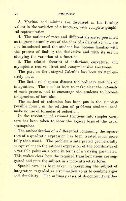 Second page of Preface to Differential and Integral Calculus, 1902, by Snyder and Hutchinson