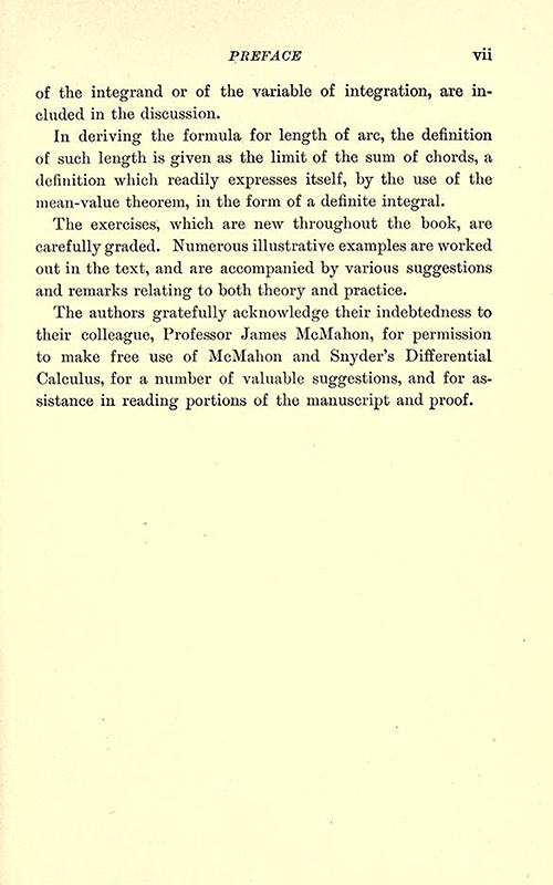 Third page of Preface to Differential and Integral Calculus, 1902, by Snyder and Hutchinson