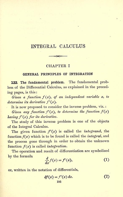 First page of chapter on integration from Differential and Integral Calculus, 1902, by Snyder and Hutchinson