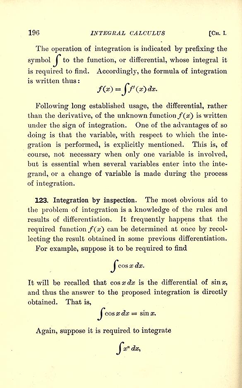 Second page of chapter on integration from Differential and Integral Calculus, 1902, by Snyder and Hutchinson