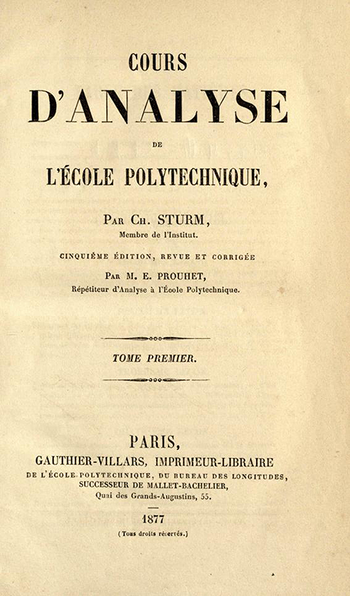 Title page of Cours d'Analyse by Charles Sturm, fifth edition, published in 1877