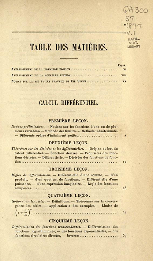 First page of table of contents of Cours d'Analyse by Charles Sturm, fifth edition, published in 1877