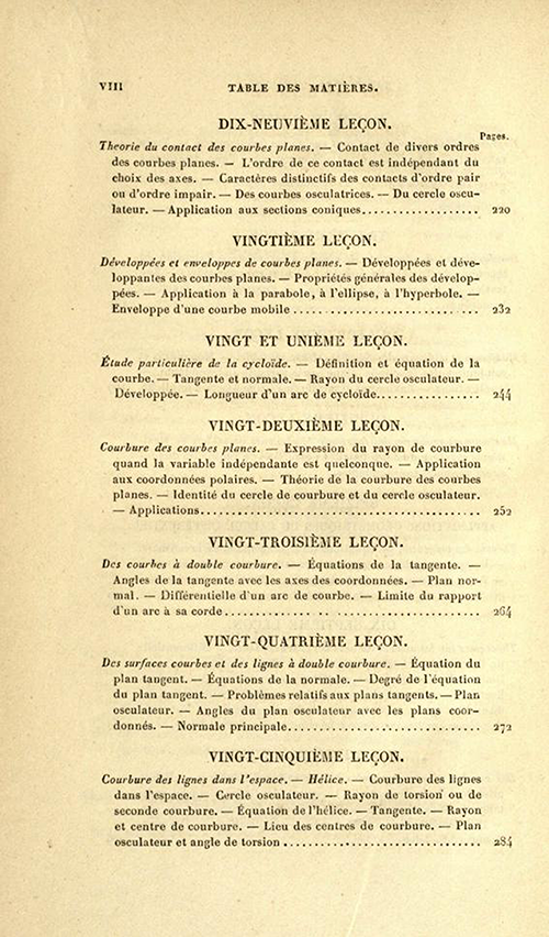 Fourth page of table of contents of Cours d'Analyse by Charles Sturm, fifth edition, published in 1877