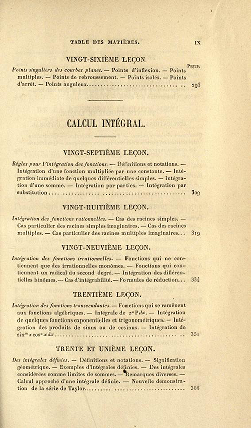 Fifth page of table of contents of Cours d'Analyse by Charles Sturm, fifth edition, published in 1877
