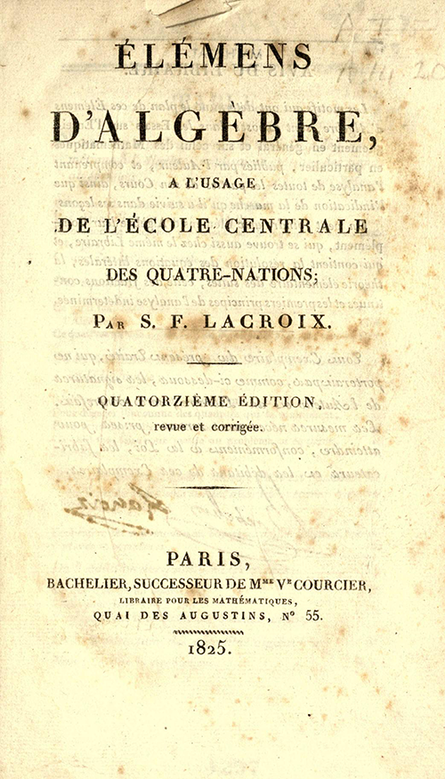 Title page for 1825 printing of Lacroix's Elements of Algebra.