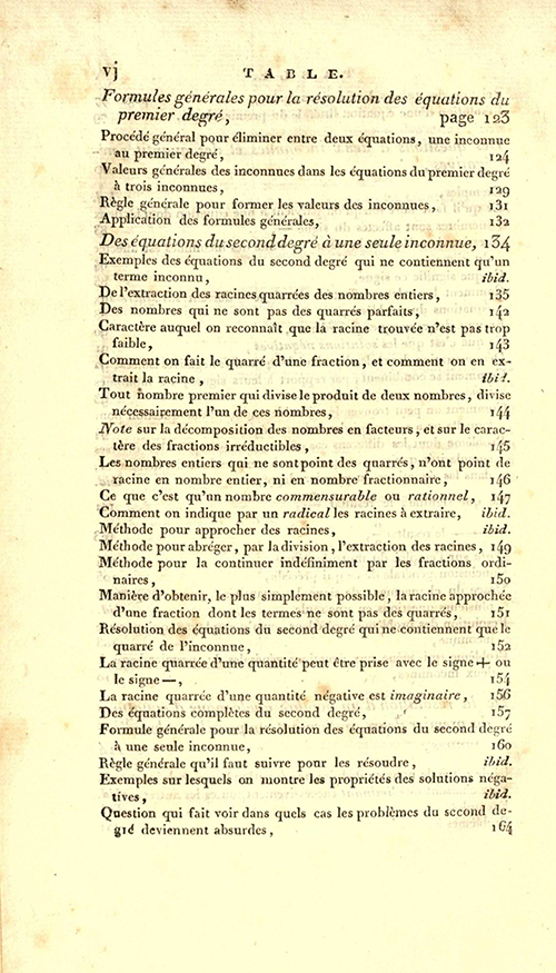 Page vi of 1825 printing of Lacroix's Elements of Algebra.