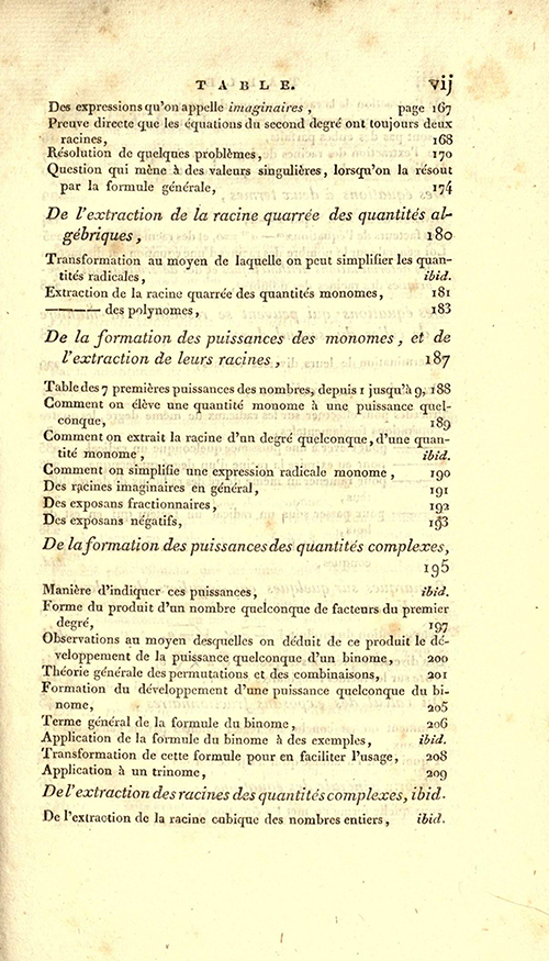 Page vii of 1825 printing of Lacroix's Elements of Algebra.